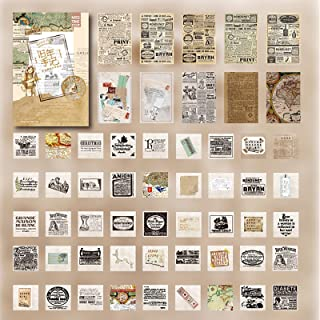 Doraking 55PCS Middle Size Retro Newspaper Style Scrapbook Stickers Decoration Paper for Scrapbooking Diary Decoration, 45...