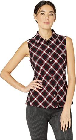 Plaid Collared Button Front Knit Top
