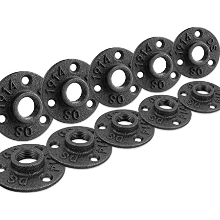 """1/2"""" Floor Flange, Home TZH Malleable iron Pipe Fittings for Industrial vintage style, Flanges with Threaded Hole for DIY Project /Furniture/ Shelving Decoration (10 Pack)"""