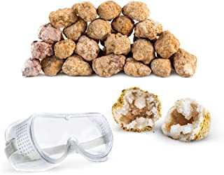 """Discover with Dr. Cool Break Your OWN 25 Large (2""""-2.5"""") Premium Moroccan Geodes - Great Birthday Party Favors and a Fun Family Activity, Includes Safety Goggles"""