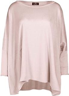 Zwillingsherz Poncho mit Baumwolle - Hochwertiges Cape im Uni Design für Damen Mädchen - XXL Umhängetuch und Tunika - Strick-Pullover - Sweatshirt - Stola für Frühjahr Sommer Herbst und Winter