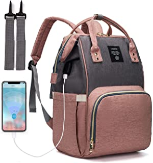 Diaper Bag Backpack, LEQUEEN Waterproof Stylish Multifunction Large Capacity Travel Back Pack Maternity Baby Nappy Changin...
