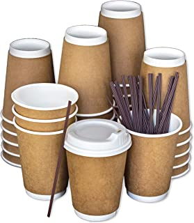 Disposable Coffee Cups To Go with Lids, Stirrers, and Integrated Sleeves | [100 Pack - 12 Ounce] | Recyclable Paper | Travel Cups - Living Balance