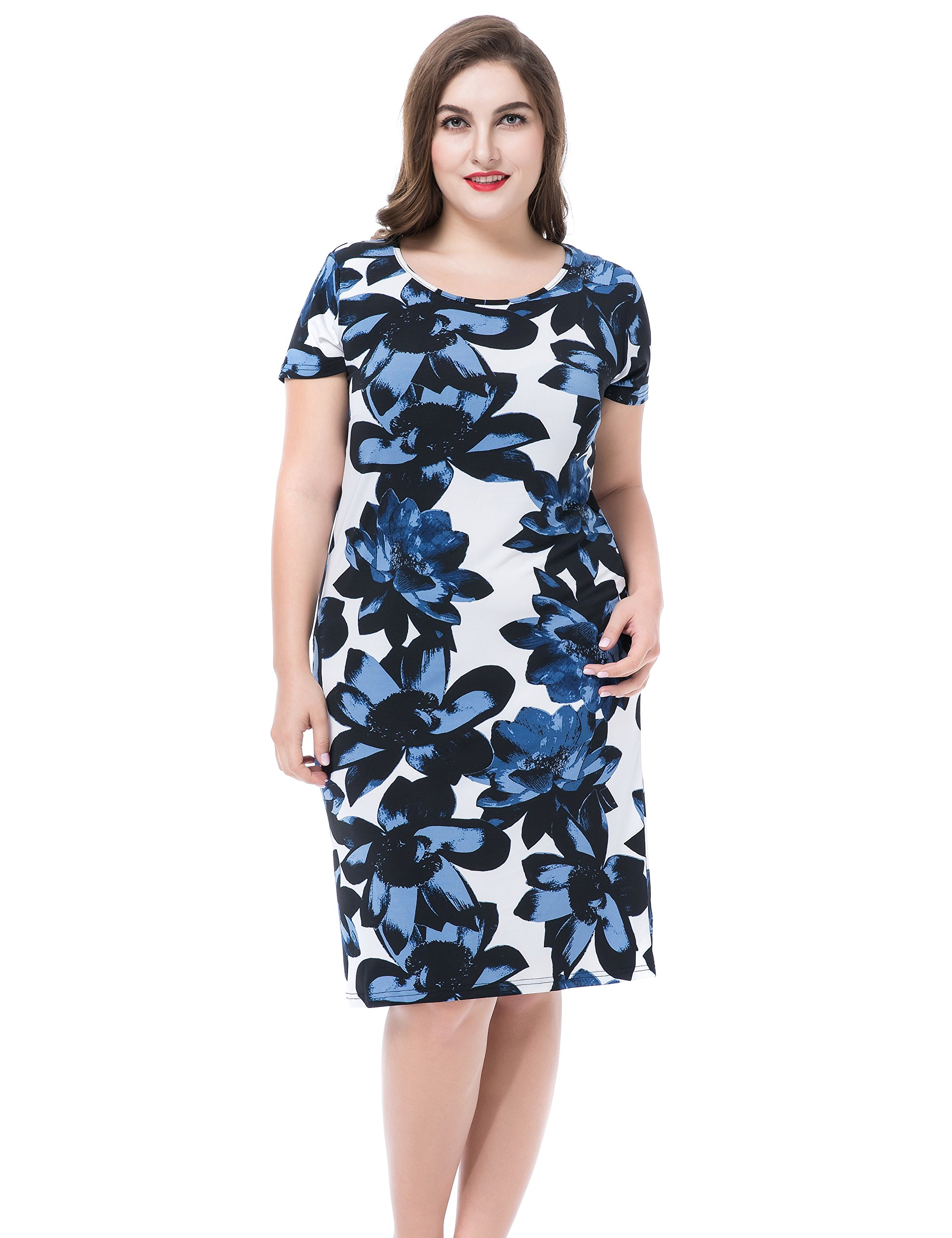 Available at Amazon: Chicwe Women's Plus Size Floral Printed Casual Dress - Round Neck Short Sleeves Knee Length