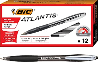 BIC Atlantis Original Retractable Ball Pen, Medium Point (1.0 mm), Black, Box of 12 Pens
