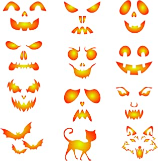 Halloween Coffee Set Stencil - 12 Designs - Reusable Barista Stencils for Decorating Cappuccino Coffee Latte Cupcakes Cakes Cookies Scrapbooking and more...