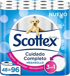 comprar comparacion Scottex Megarollo Papel Higiénico, 48 Megarollos (equivale a 96 rollos estándar)