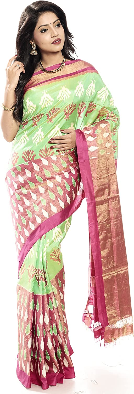 Mandakini — Indian Women's Handloom  Ikat Pure Silk Saree (PinkGreen) (MK307)