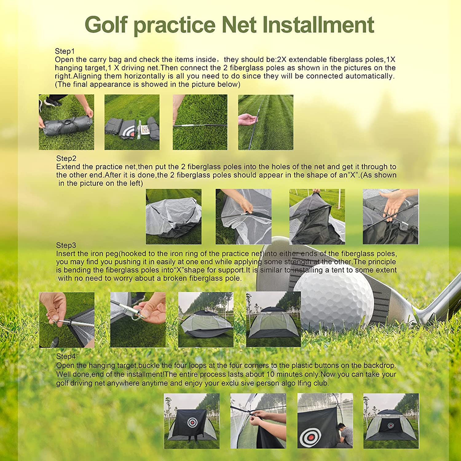 Premkid Golf Practice Net Sports Golf Hitting Net Portable Driving Net Carry Bags Large Size 10x7ft Chipping Practice Holes Golf Hitting Mat Indoor and Outdoor Backyard Training Driving Range : Sports & Outdoors