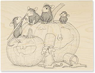 Stampendous Pumpkin Paint House Mouse Rubber Stamp