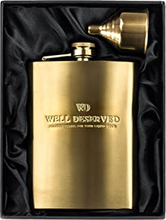 8oz Gold Flask For Liquor + Funnel Set. PROVEN GIFT For Men or Women For Christmas. Engraved WELL DESERVED. Classy Black Satin Packaging. Hip Flask For Yourr Boyfriend, Husband, Brother, Dad, Father