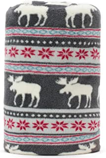 KEMUSI Baby Blanket Throw with Xmas Moose Sunflower Pattern Grey Background Soft Light Weight Coral Fleece 250GSM 50 x 60