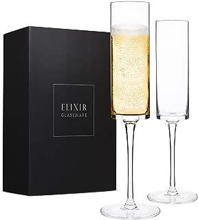 Champagne Flutes, Edge Champagne Glass Set of 2 - Modern & Elegant Gift for Women, Men, Wedding, Anniversary, Christmas, Birthday - 6oz, 100% Lead Free Crystal
