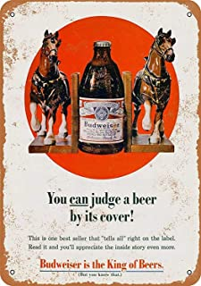 Tin Logo Beer Poster Budweiser Beer Vintage Bar Club Retro Decoration 8x12 Inches