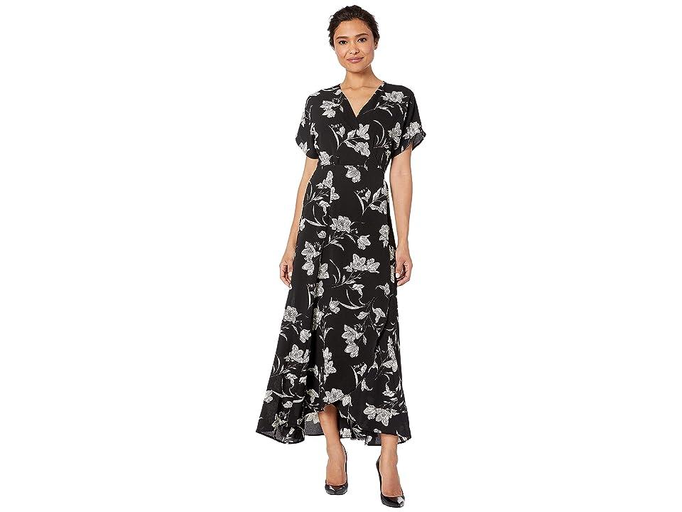 Bobeau Printed Wrap Maxi Dress (Black/White Floral) Women
