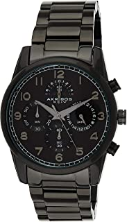 Black Stainless Steel Men's Dress Watch – Analog Quartz – AK1042BK