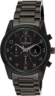Akribos XXIV Men's AK1042BK Bracelet Watch –Stainless Steel Chronograph Quartz Wristwatch (Black)