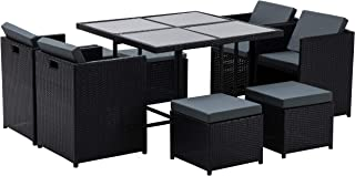 MCombo Aluminum Outdoor Wicker Rattan Dining Table(42.5Inchx 42.5Inch x29Inch) Chairs Set Space Saving Patio Furniture Cushioned Seats Conversation Set with Dark Tempered Glass 6080 (9PC)