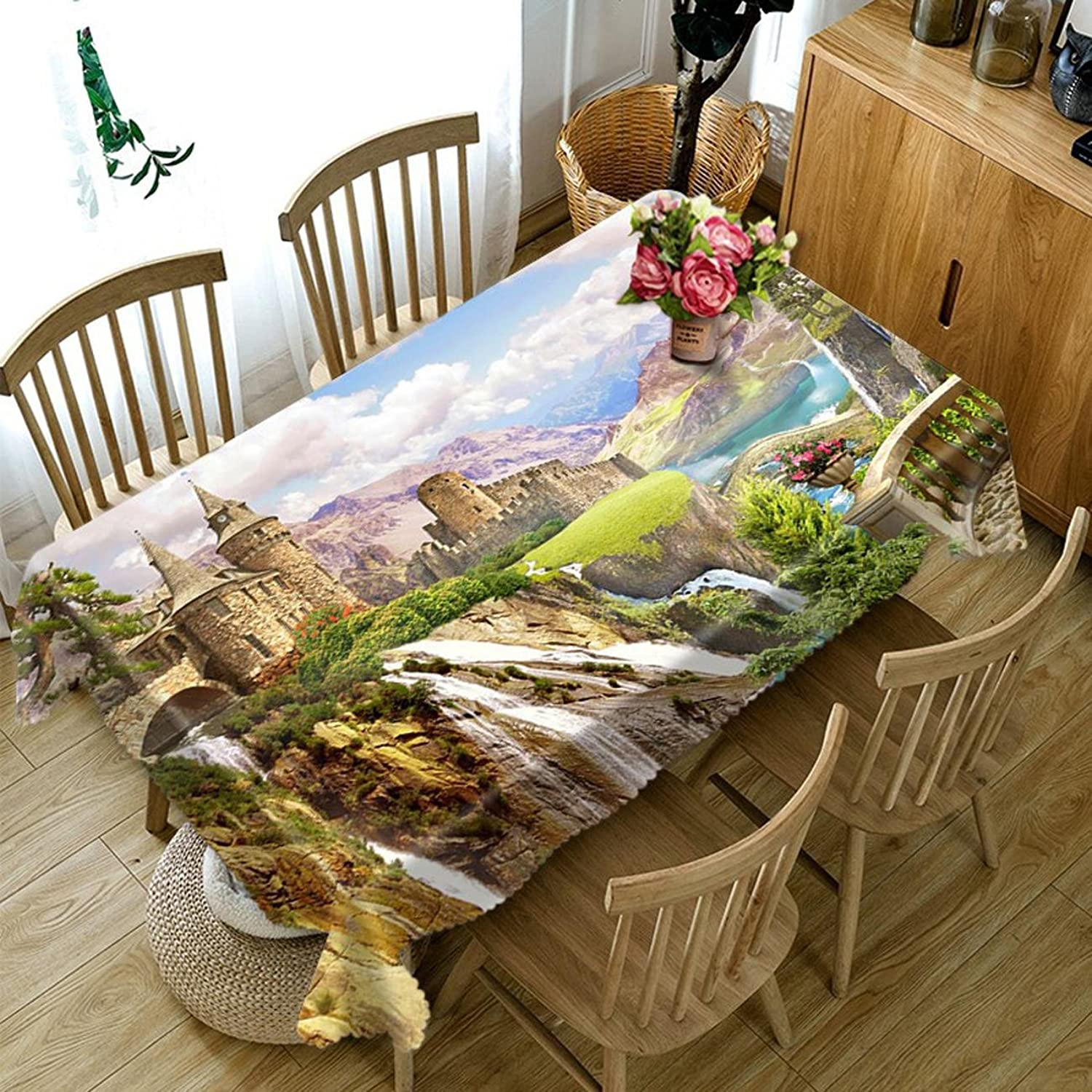 HUANZI HZ Tablecloth 3DGreat Rivers And Mountains Digital Printing Dustproof Dinner Desktop Top Cover Rectangular Tablecloth, square 178cmx178cm