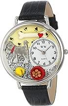 Whimsical Watches Unisex U0130066 Schnauzer Black Skin Leather Watch
