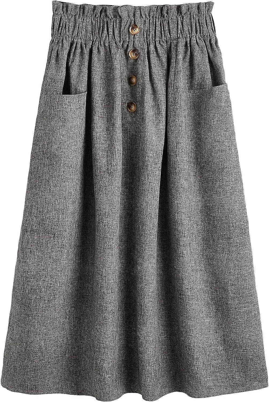 MakeMeChic Women's Paperbag Waist Button Front Dual Pocket A Line Long Skirt