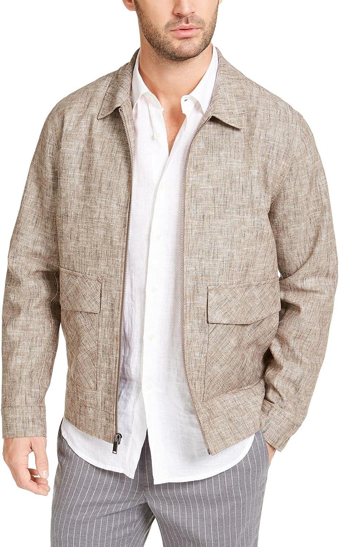 Tasso Elba Men's Classic fit Vieste Bomber Jacket, Nat Khaki Combo, XL