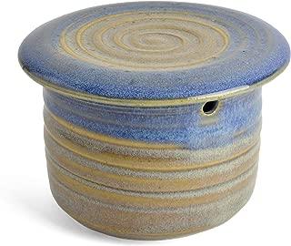 Holman Pottery French Butter Keeper, Blue Rabbit Glaze