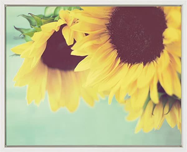 Kate And Laurel Sylvie Closeup Of Sunflowers Framed Canvas Wall Art By Kristy Campbell White 18 X 24