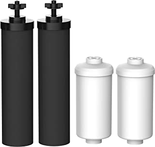 FilterLogic Water Filter, Compatible with Black Filters (BB9-2) & Fluoride Filters (PF-2) Combo Pack and Gravity Filter System - Includes 2 Black Filters and 2 Fluoride Filters �