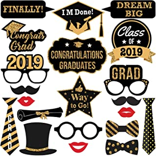 Intoy 21 PCS Graduation Photo Booth Props 2019 Gold Glitter and Black Grad Party Supplies for College and High School (Large)