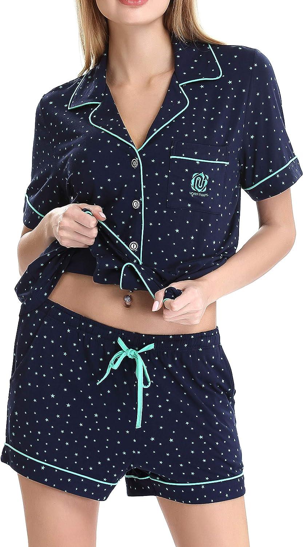 Aoymay Women's Pajamas Set Short Sleeve Sleepwear Lightweight Loungewear Soft Pj Set