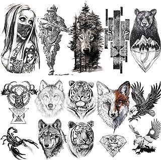 LAROI 10 Hojas 3D Grande Realista Cara Tigre Tatuajes Temporales Hombre Brazo Soldado Tatuajes Falsos Adultos Temporales Mujer Escorpión Lobo Ciervo Águila Oso Sketch Negro Tatuaje Temporal Niños