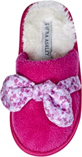 Laura Ashley Kids Girls Soft Terry and Plush Scuffs with Bow, Pink (See Sizes)