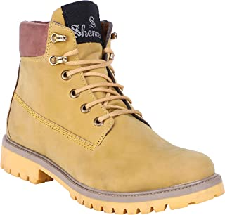 Shences Men's Synthetic Leather Casual, mid top Tough Boots for Men.