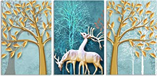 Saumic Craft Set of 3 Reindeer Animals Jungle Scenery Self Adeshive UV Coated 3D Painting For Home Decor And Gifting With ...