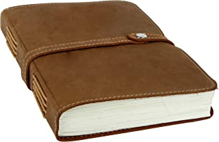 Handmade Genuin Leather Journal 5x7 Inch Brown Antique Vintage Sketchbook Unlined Blank Cotton Paper Travelers Notebook Diary for Men and Women