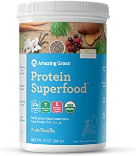 Amazing Grass Protein Superfood: Organic Vegan Protein Powder, Plant Based Meal Replacement Shake with 2 servings of Fruits and Veggies, Pure Vanilla Flavor, 11 Servings,12 Ounce