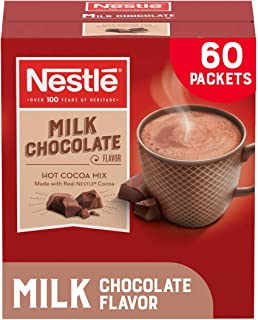 Nestle Hot Chocolate Packets, Milk Chocolate Flavor Hot Cocoa Mix, Made with Real Cocoa, 0.71 oz Sachets, Bulk Pack (60 Co...