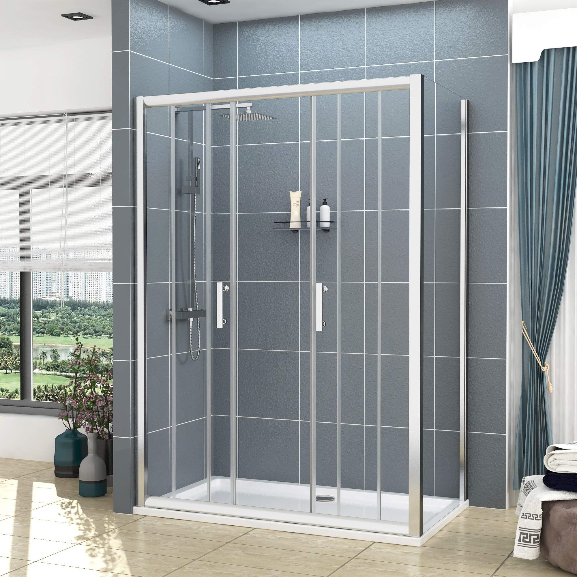 Mampara de ducha rectangular de cristal de 6 mm con bandeja de ducha de piedra nacarada de 1600 mm: Amazon.es: Bricolaje y herramientas
