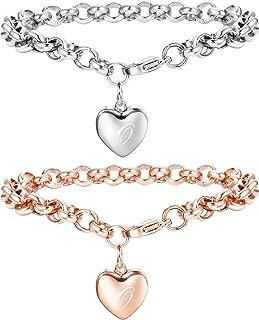 QUEEN JULIA Bracelet jonc dor/é pour Femme Argent Couples Bracelets en Acier Titane pour Filles gar/çons Pulseras de Mujer Saint-Valentin Mariage