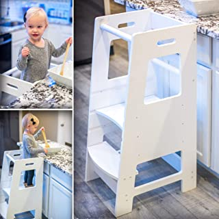 KidzWerks Child Standing Tower - White Child Kitchen Step Stool with Adjustable Standing Platform - Wooden Montessori Standing Tower - Kid's Step Stool