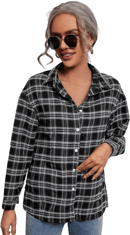 Milumia Women Plaid Button Down Collared Blouse Shirt Long Sleeve Tartan Print Top