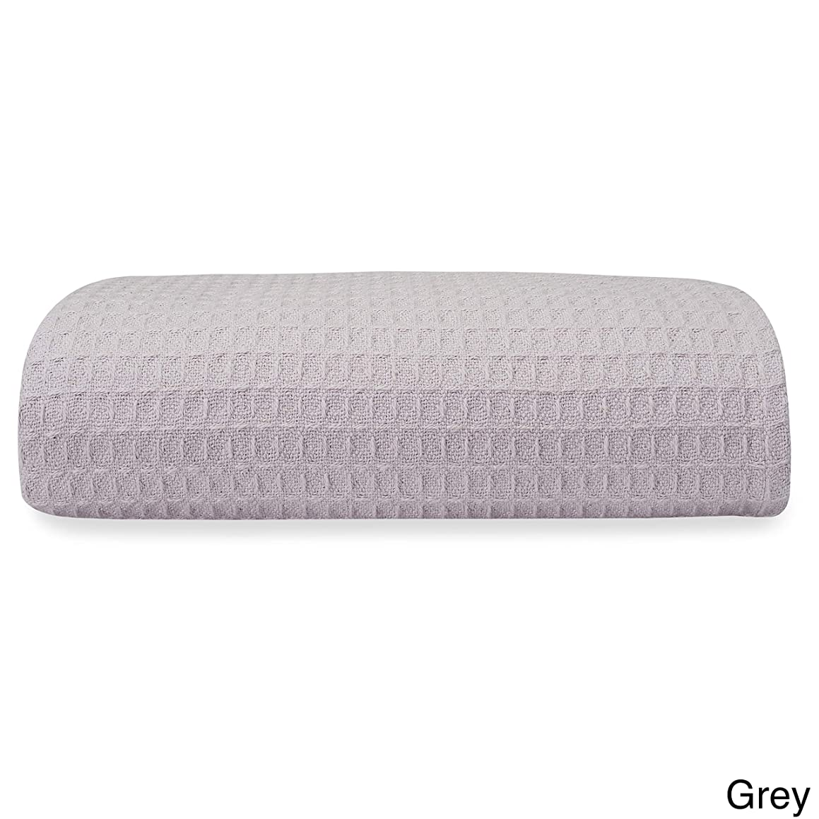 Single Piece King Grey Woven Waffle Weave Blanket, Solid Color Pattern, Knit, Cotton Material, Contemporary Classic Style, Pliable & Comfortable, Self-Binding Edging, Machine Washable, Charcoal