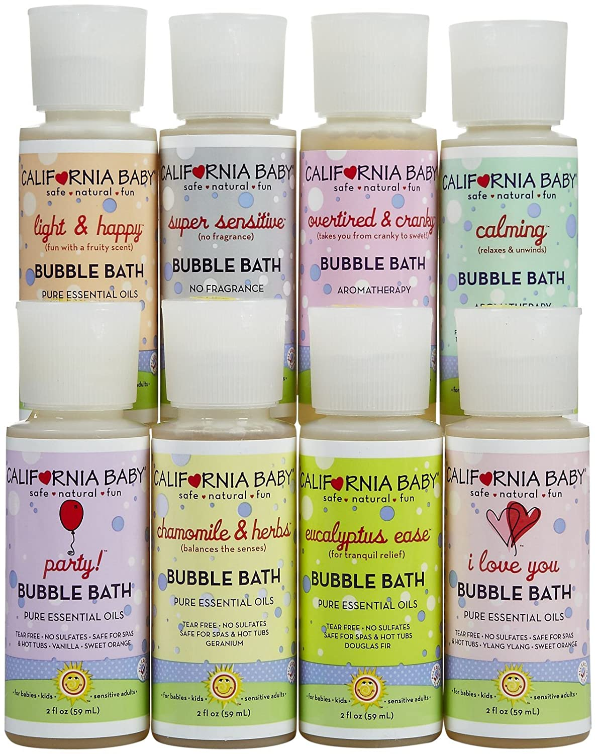 California Baby Bubble Bath Tote Max Superior 63% OFF Sampler Eu with Pack Pc 8 Set