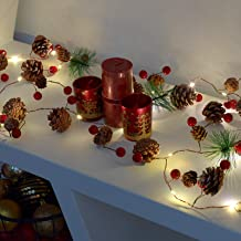 GloBrite Christmas Pine Cones Garland Wreath LED Fairy String Lights Battery Operated Indoor Outdoor Decor for Xmas Tree Party Wedding Home Bedroom Wall Garden Ornament Decoration