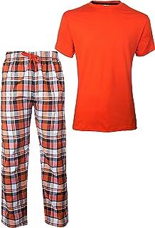 Checked Pyjamas for Men Mens Pjs Cotton Short Sleeves Round Neck T-Shirts Woven Mens Pyjamas ThreadMills Mens Pyjamas Set