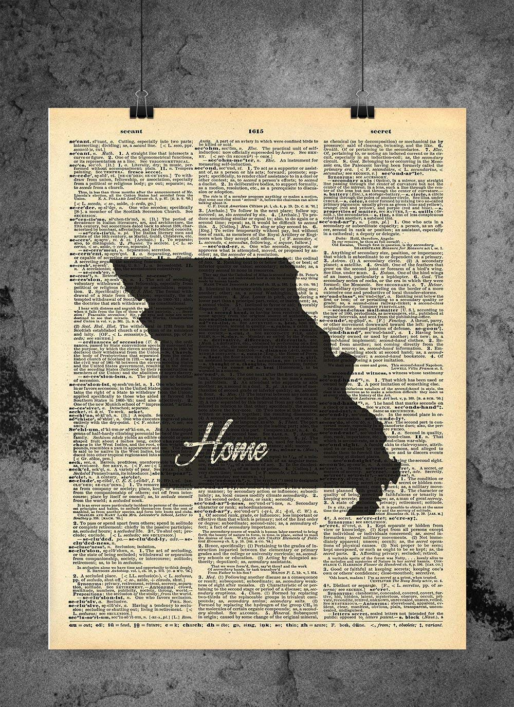Missouri State trend rank Vintage Super popular specialty store Map Dictionary 8x10 inch Ho Print