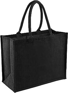Westford Mill Classic Jute Shopper Bag (21 Litres) (UK Size: One Size) (Black/Black)