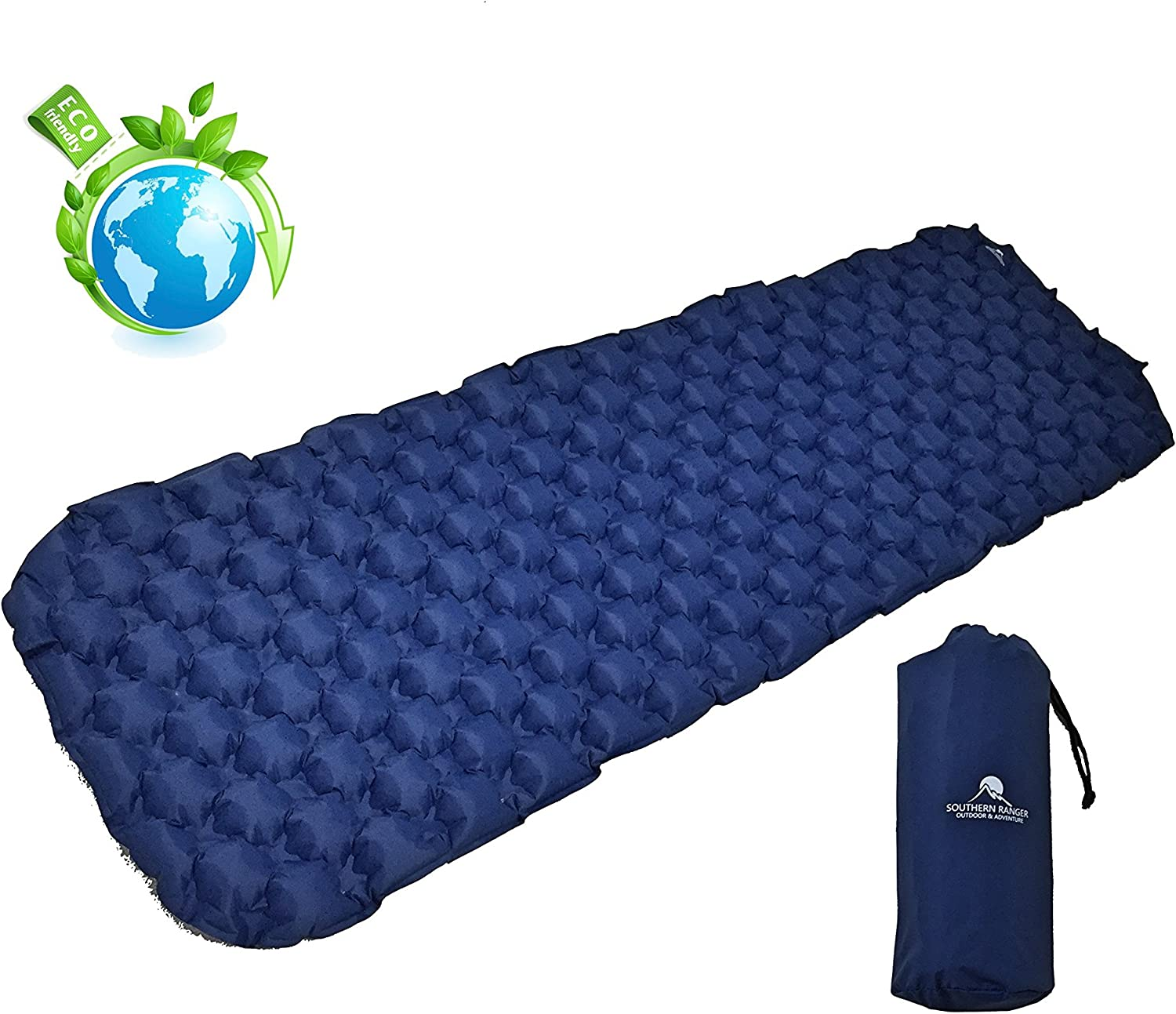 Southern Ranger Ultralight Inflatable Camping Sleeping Pad  Thick Outdoor Air Mattress with Lightweight Bag  Large Bed Size for Men Women or Kids  Compact and Waterproof  Extra Comfortable Sleep