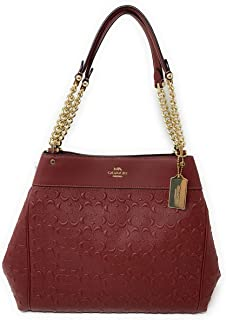 COACH WOMENS LEXY CHAIN SHOULDER BAG IN SIGNATURE LEATHER F49336 WINE/IMITATION GOLD